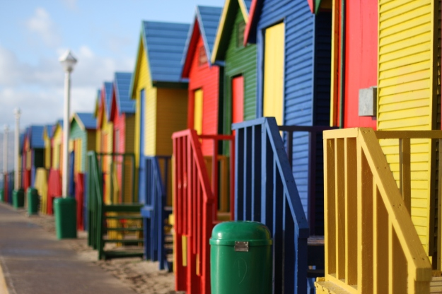 Enjoy the colorfu surfers huts, in Muizenberg