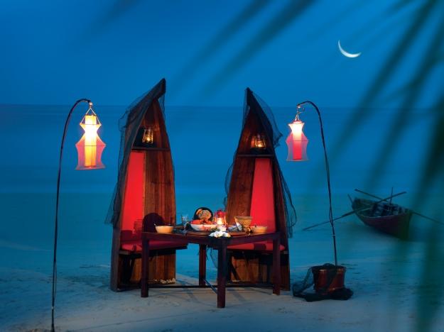 Enjoy a romantic meal on a beach